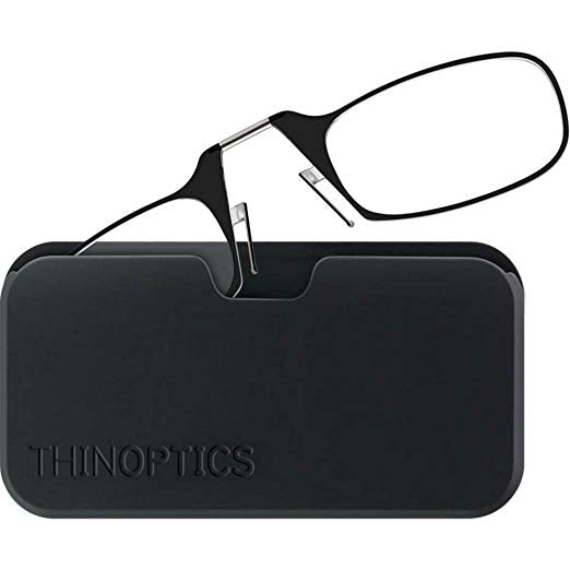 ThinOptics Reading Glasses + Black Universal Pod Case | Classic Collection, Black Frames, 2.00 Strength