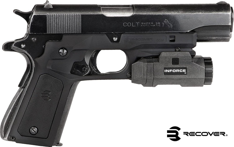RECOVER Tactical CC3P Grip and Rail System for the 1911 - BLACK FRAME W/ BLACK AND PHANTOM PANELS