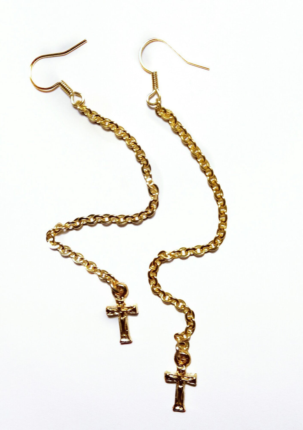 Chain Earrings With Small Cross