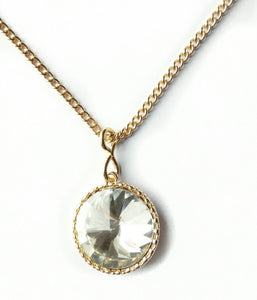 Round Rhinestone Pendant Necklace