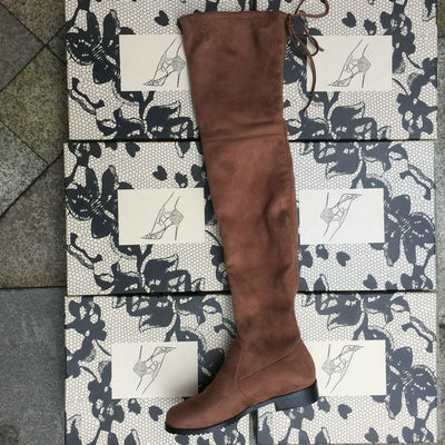 08554a82bb0 Thigh High Boots Female Winter Boots Women Over the Knee Boots Flat Stretch  Sexy Fashion Shoes