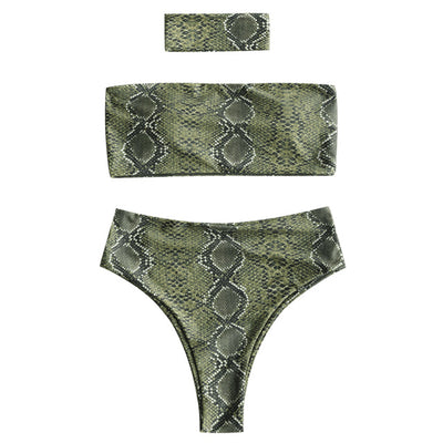 b51b2686131bc ZAFUL Women Bikini Set Sexy Snakeskin Print Bandeau Bikini With Choker  Female Summer Swimsuit Swimwear Bathing. Click to continue