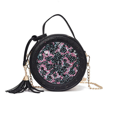 Lady Sequins Bling Tassel Chain Leather Shoulder Bags Circular Pink Crossbody  Bag for Women Flap Purse 9fdf841a0536