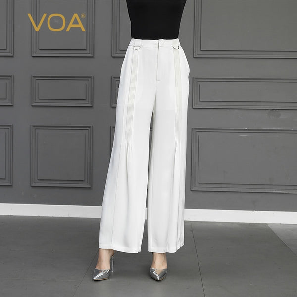 735fcbbf759 VOA Heavy Silk White Office Ladies Wide Leg Pants Women Casual Long Trousers  Formal Basic Suit