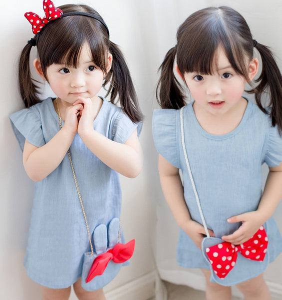 467361014a5bd Hot Sale 2018 Europe and America Summer Children's Floral Lemon Sling Bow  Cotton Sling Rainbow Striped Cartoon Strap Girl Dress