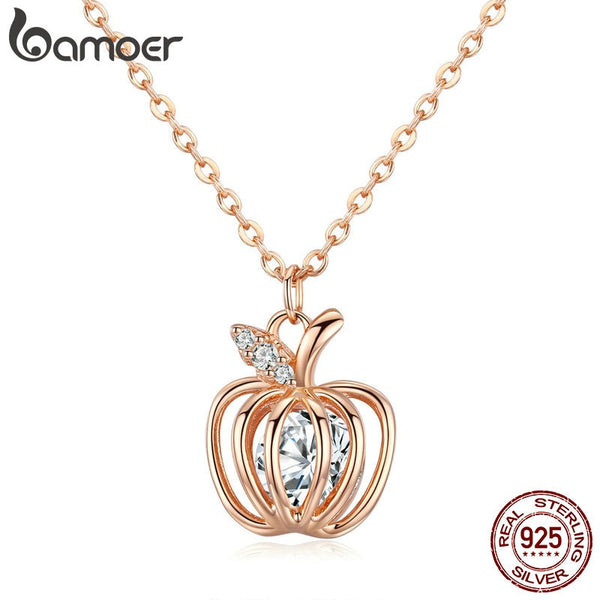 c5ff09461a7 BAMOER Popular 925 Sterling Silver Lucky Apple Pendant Fruit Clear CZ Women  Necklaces Pendants 925 Silver
