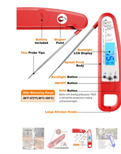 Food Meat Thermometer, Easy to Read Display with Backlight & Magnet