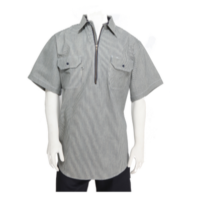 Men's Logger Hickory Stripe Short Sleeve Shirt with Zip front
