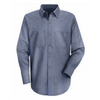 Men's Occupational Industrial Mechanics Uniform Work Long Sleeve Shirt Charcoal Grey Blue Yarn Dye Stripe