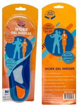 Work Gel Insoles for Men with Metatarsal Stability, Air Flow, Orthotic and Heel Support for Sizes US 7 to 11.5
