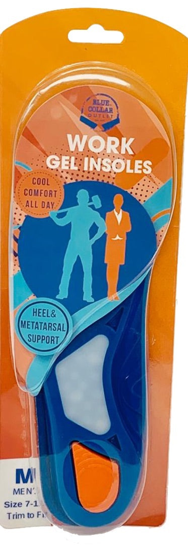 Work Gel Insoles for Men with Orthopedic, Metatarsal, Heel Support and Air Flow  for All Day Comfort