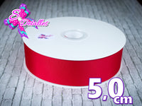Listón Barrotado Unicolor de 5,0 cm – 250, Red, Rojo,