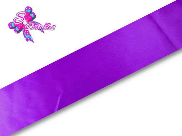 Listón Satinado Unicolor de 3,8 cm – 465, Purple, Morado,