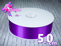 Listón Satinado Unicolor de 5 cm – 465, Purple, Morado,