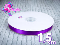 Listón Satinado Unicolor de 1,5 cm – 465, Purple, Morado,