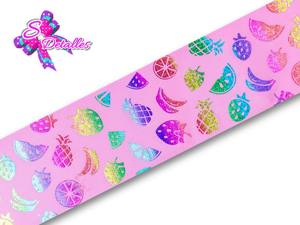 Liston Holograma Frutas - Multicolor, Colores Fuertes, Degradado, Fondo Rosado,