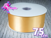 Listón Satinado Unicolor de 7,5 cm – 675, Gold, Oro,