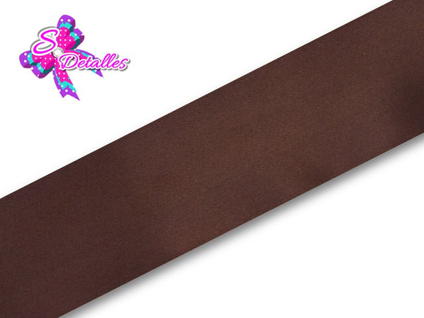Listón Satinado Unicolor de 5 cm – 850, Brown, Marrón, Café,