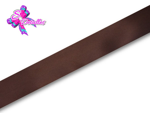 Listón Satinado Unicolor de 0,9 cm – 850, Brown, Marrón, Café,