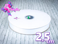 Listón Barrotado Unicolor de 2,5 cm – 029, White, Blanco,