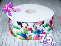 Liston Impreso con personajes Disney – Minnie y Mickey, Fondo Blanco, Césped, Regalo,
