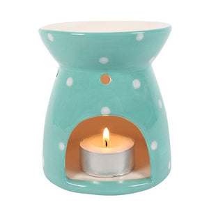 Tealight Wax Melter - Green Polka Dot