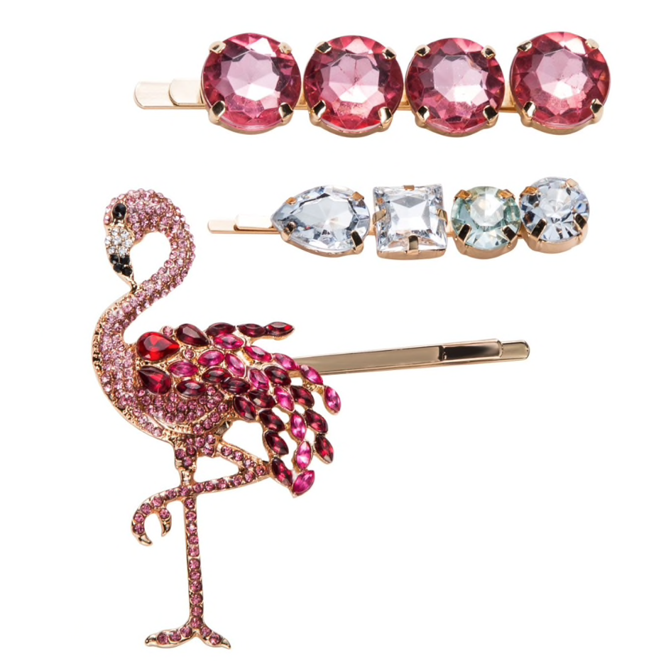 Flamingo Crystal Hair Clip set