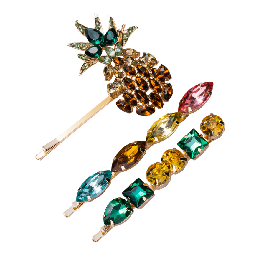 Pineapple Crystal Hair Clip set - Little Bird Designs