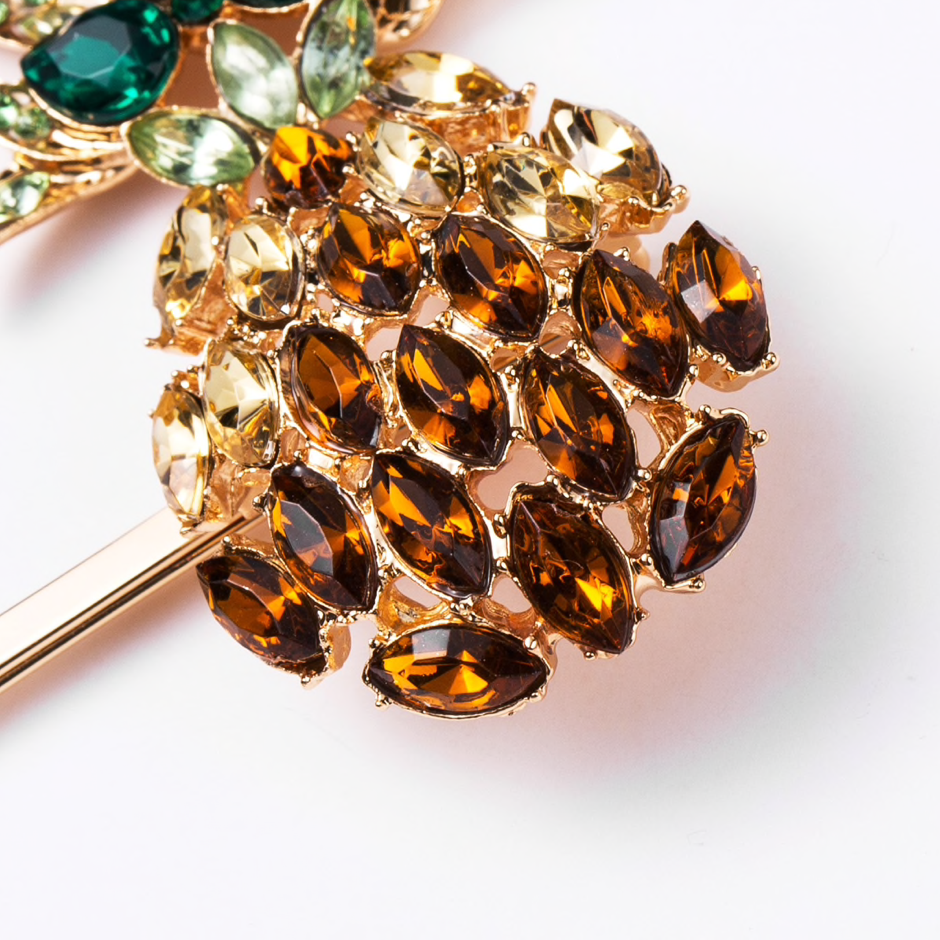 Pineapple Crystal Hair Clip set