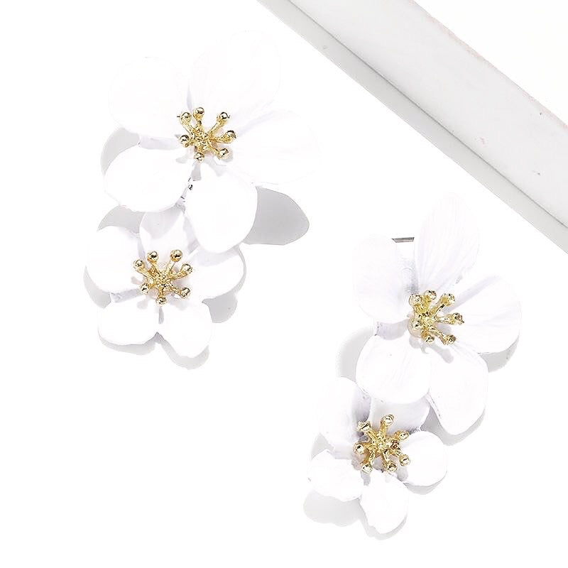 Mia Double Flower Earrings - Little Bird Designs