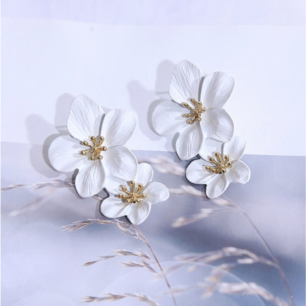 Mia Double Flower Earrings - littlebirddesigns-au