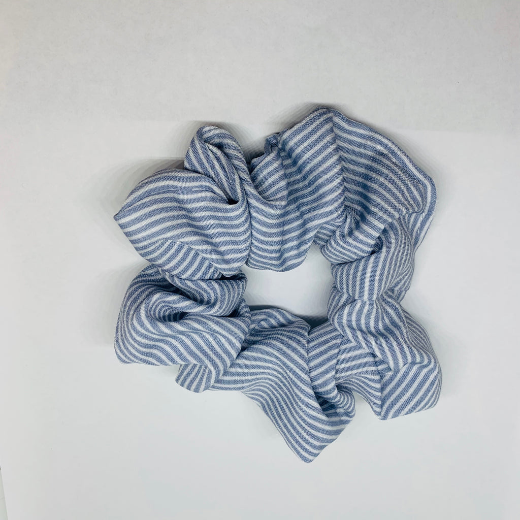Pale blue stripe Scrunchies - Little Bird Designs
