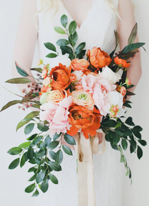Coral, Burnt Orange, and Pink Wedding Bouquet