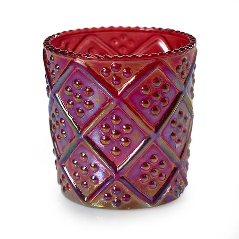 Red Iridescent Votive with Lines - Set of 6