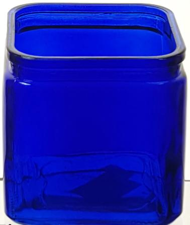 Cobalt Blue Glass Cube Vase - 4.75""
