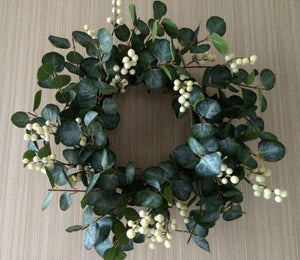 White Berry and Eucalyptus Wreath - 20""