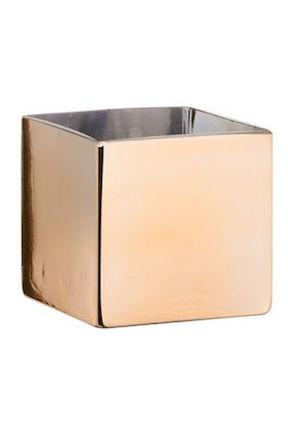 "Gold Mirror Cube Vase - 5"" Tall x 5"" Wide"