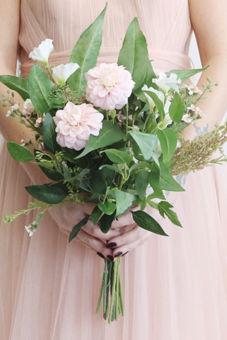 Sweet Pea and Dahlia Wedding Bouquet