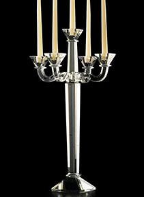 "Square Cup Crystal Candelabra - 23.5"" for Rent"