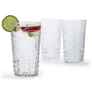 Vintage Embossed Drinking Glasses - 6pc Set