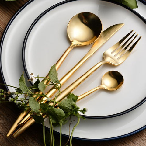 4pcs/set Gold Dinnerware Set Stainless Steel Kitchen Cutlery