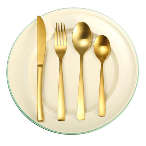 4pcs/set Matte Gold Stainless Steel Flatware