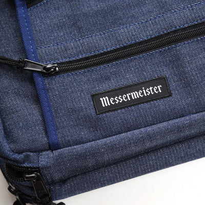 18 Pocket Denim Chef's Luggage_Messermeister Logo Bottom Left