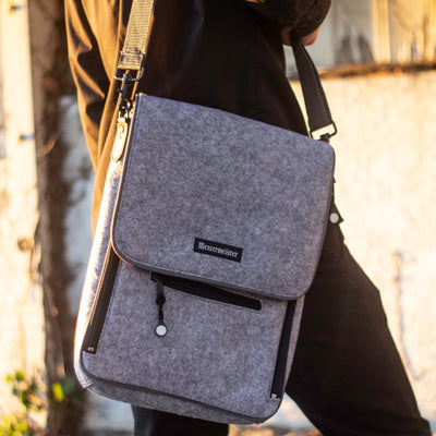 6 Pocket Messenger Bag_Heather Felt_Shoulder Strap
