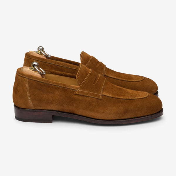 Folded Penny Loafer Tobacco suede- Goodyear Welted