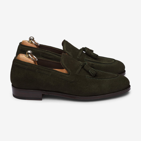 Tassel Loafer Army Green Suede - Goodyear Welted