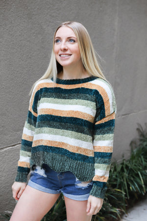 Striped Sweater with Scallop Trim - Shop Core Collection