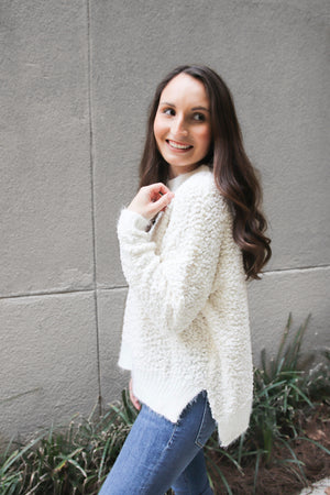 White Fuzzy Sweater - Shop Core Collection