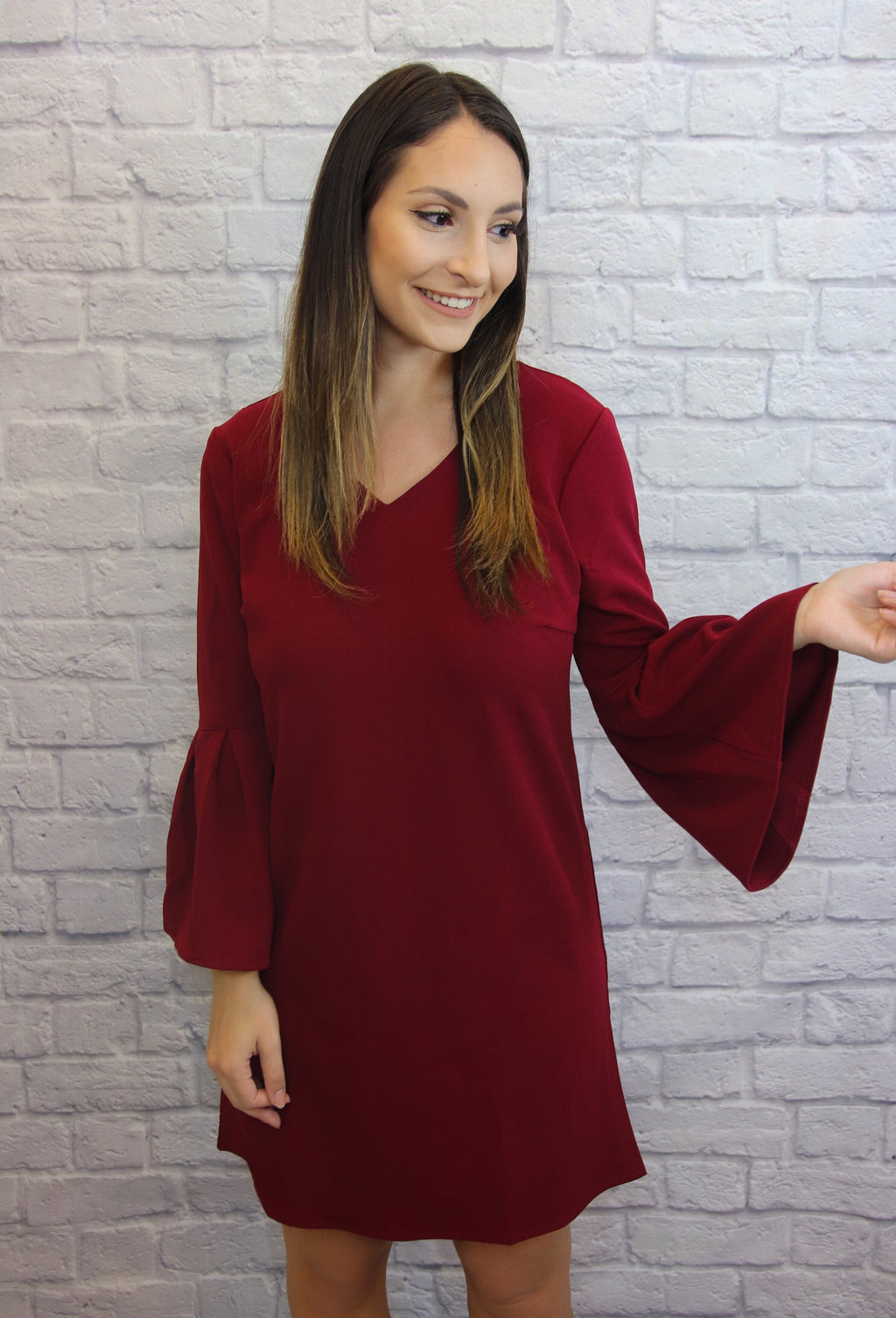 Red, Bell-Sleeve Dress - Shop Core Collection