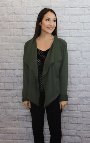 Olive Drape Front Jacket - Shop Core Collection